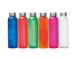 Trinkflasche transparent mit grauem Deckel